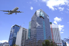 Brisbane city, modern architecture. Aircraft fly over Brisbane city Stock Images
