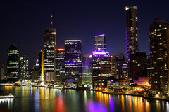 Brisbane City At Night. Beautiful Brisbane City Riverside At Night In Queensland, Australia stock images