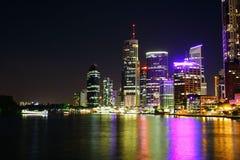 Brisbane City At Night. Beautiful Brisbane City Riverside At Night In Queensland, Australia Royalty Free Stock Images