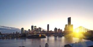 Brisbane city, night. Brisbane evening views of the city center royalty free stock photo