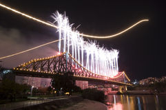 Brisbane City Riverfire. Climatic fireworks display on the Story Bridge during the Riverfire Festival in Brisbane with F 111 fighter jet dump and burn trails Royalty Free Stock Photos