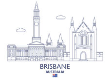 Brisbane City Skyline, Australia. Brisbane Linear City Skyline, Australia Stock Photo