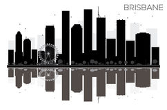 Brisbane City skyline black and white silhouette with reflection. S. Vector illustration. Simple flat concept for tourism presentation, banner, placard or web Royalty Free Stock Photos