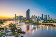 Brisbane city skyline and Brisbane river at twilight. In Australia Royalty Free Stock Photo