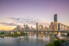Brisbane city skyline and Brisbane river at twilight. In Australia Royalty Free Stock Image