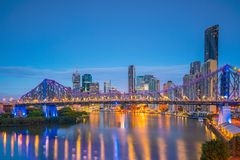 Brisbane city skyline and Brisbane river at twilight. In Australia Stock Photos