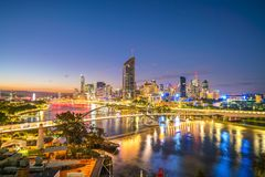 Brisbane city skyline and Brisbane river at twilight. In Australia Royalty Free Stock Photos