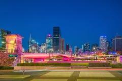Brisbane city skyline and Brisbane river at twilight. In Australia Stock Photos