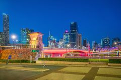 Brisbane city skyline and Brisbane river at twilight. In Australia Royalty Free Stock Photography