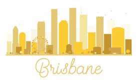 Brisbane City skyline golden silhouette. Vector illustration. Cityscape with landmarks Stock Photos