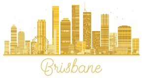 Brisbane City skyline golden silhouette. Vector illustration. Cityscape with landmarks. Brisbane isolated on white background Royalty Free Stock Photos