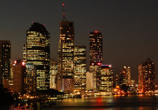 Brisbane City skyline at night. In yellow. Quennsland, Australia royalty free stock image