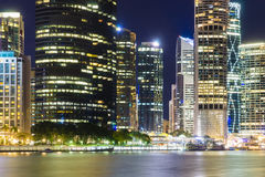 Brisbane city skyline at night. Close-up view of Brisbane city skyline at night Royalty Free Stock Photography