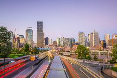 Brisbane city skyline. At twilight in Australia Royalty Free Stock Photography