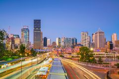 Brisbane city skyline. At twilight in Australia Stock Image