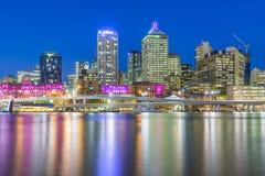 Brisbane city skyline. View of Brisbane city skyline and illuminated builidings at twilight Stock Images