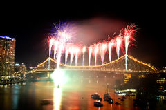 Brisbane City Storey Bridge Riverfire Fireworks Stock Photos