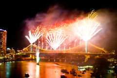 Brisbane City Storey Bridge Riverfire Fireworks Stock Image