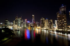 Brisbane city from Story Bridge with boat traffic royalty free stock photography