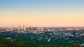 Brisbane City. At sunset from Mount Coot-tha Stock Photography