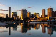 Brisbane City sunset. Brisbane City skyline viewed from the South Bank. Queensland, Australia Stock Image