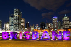 Brisbane city. Viewed from the south end of Victoria Bridge and South Bank. Illuminated letters. Queensland, Australia stock photo