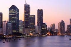 Brisbane en la puesta del sol Imagen de archivo libre de regalías
