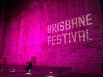 Brisbane Festival. Brisbane Powerhouse night time sign announcing the Brisbane Festival Stock Photography