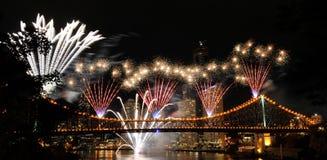 Brisbane-Feuerwerke Stockfotografie