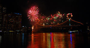 Brisbane fireworks on bridge over river Stock Images