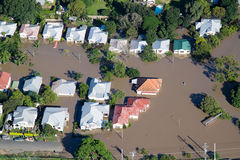 Brisbane Flood 2011 Aerial View Homes Under Water Stock Image
