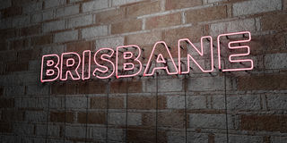BRISBANE - Glowing Neon Sign on stonework wall - 3D rendered royalty free stock illustration. Can be used for online banner ads and direct mailers Royalty Free Stock Photo
