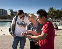 Brisbane Greeter helps tourist Royalty Free Stock Photos