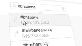 Brisbane hashtag search through social media posts. 3D rendering. Brisbane hashtag search through social media posts Stock Images
