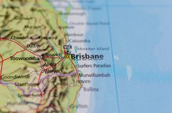 Brisbane on map. Close up shot of Brisbane on a map Stock Images