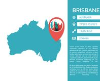 Brisbane map infographic vector isolated illustration. Brisbane map shape vector infographics template. Modern city data statistic isolated illustration Royalty Free Stock Photos