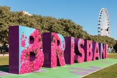 Brisbane marque avec des lettres l'art de rue dans les espaces verts du sud de banque, Brisbane Images libres de droits