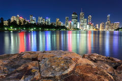 Brisbane at night. From kangaroo point (brisbane, queensland, australia Stock Image