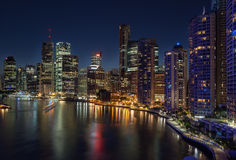 Brisbane at night. Looking across the Brisbane River to the city of Brisbane royalty free stock images