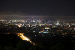 Brisbane at night from Mount Coot Tha Royalty Free Stock Image