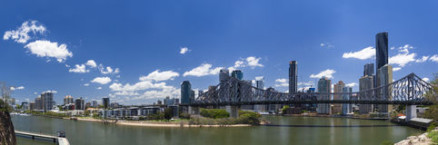 Brisbane panorama. Panorama of Story Bridge with Brisbane Financial District in the backdrop royalty free stock photos