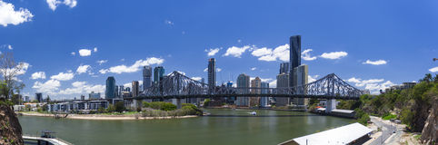 Brisbane panorama. Panorama of Story Bridge with Brisbane Financial District in the backdrop royalty free stock images