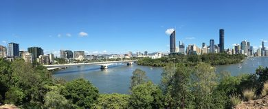 Panoramic landscape view of Brisbane Queensland Australia. Panoramic landscape view of Brisbane the capital city of Queensland state from Kangaroo Point in royalty free stock images