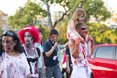Brisbane, Queensland, Australia - October 5th 2014: Annual brain foundation zombie walk October 5th, 2014 in West end, Brisbane, A Royalty Free Stock Images