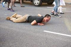 Brisbane, Queensland, Australie - 5 octobre 2014 : Promenade annuelle de zombi de base de cerveau le 5 octobre 2014 dans le West  images libres de droits