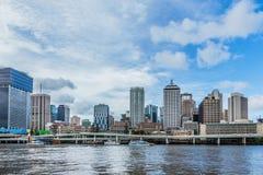Brisbane Queensland, Australien: Mars 11 2016 Stad som ses från t Arkivbild