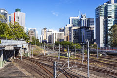 Brisbane railway station. A close-up of Australian Brisbane train tracks Stock Photos