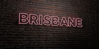 BRISBANE -Realistic Neon Sign on Brick Wall background - 3D rendered royalty free stock image. Can be used for online banner ads and direct mailers Royalty Free Stock Photo