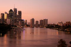The Brisbane River. And City at night Royalty Free Stock Image