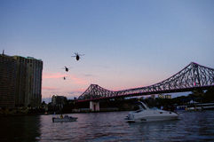 Brisbane River City Army Helicopter Royalty Free Stock Image